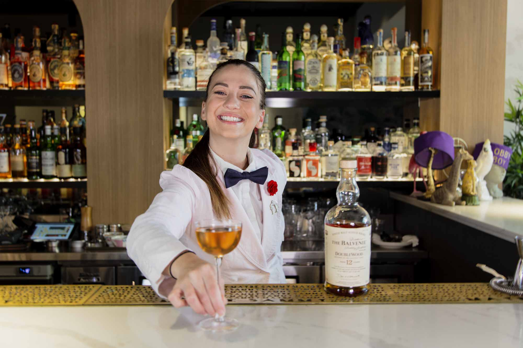 Bartender Sarah Proietti at Maybe Sammy in March. Photo: Boothby