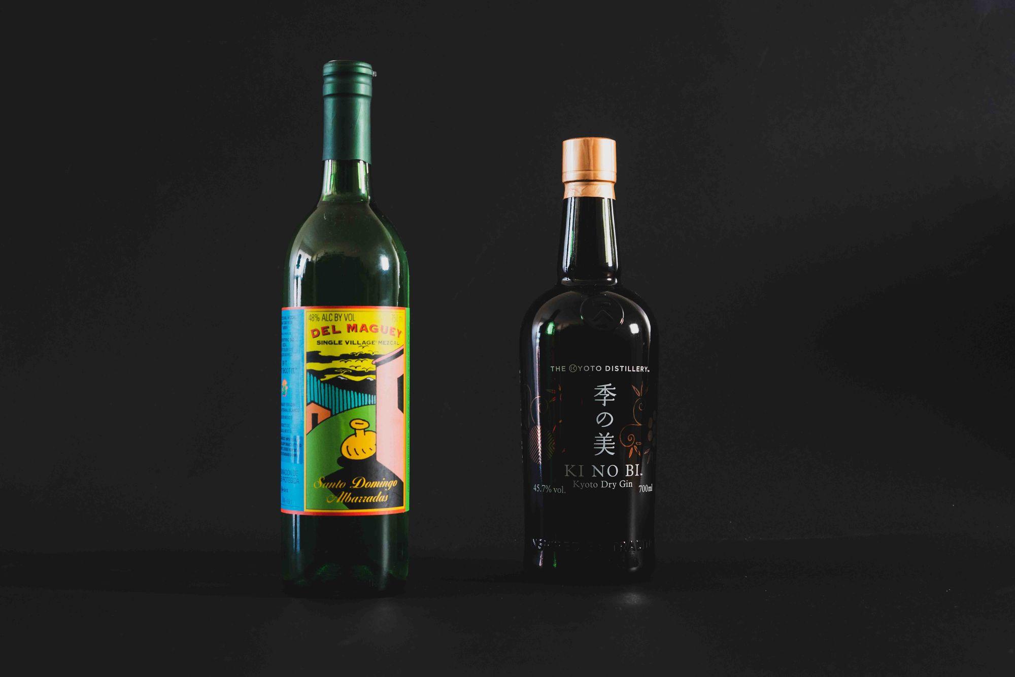 Del Maguey Santo Domingo Albarradas and Ki No Bi Kyoto Dry Gin. Photo: Boothby