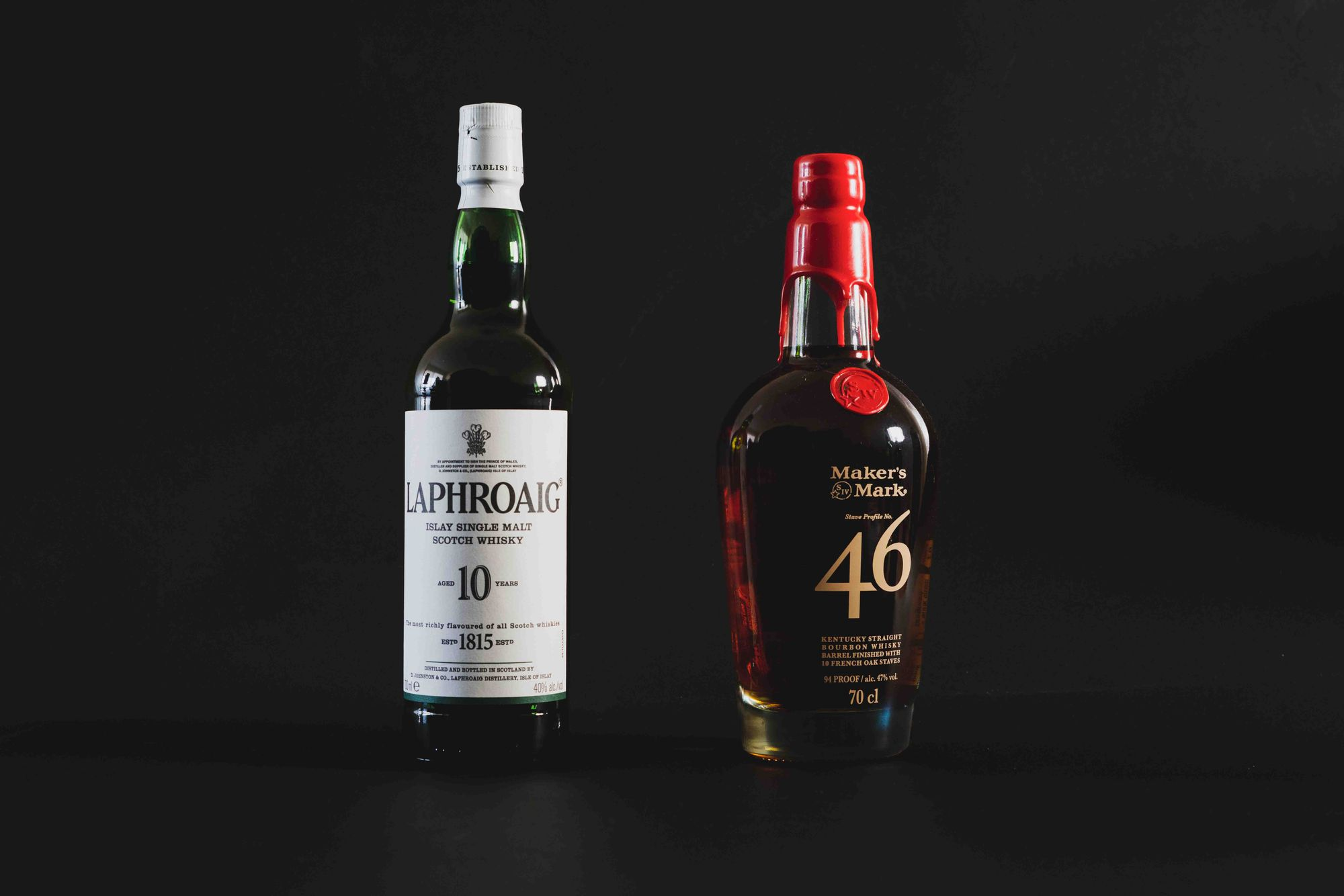 Laphroaig 10 and Maker's Mark 46. Photo: Boothby